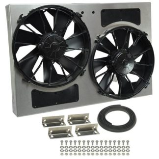 "Derale 16826 High Output Dual 12"" Electric RAD Fan / Aluminum Shroud Kit - 25-5/8""W x 17-1/8""H x 4""D."