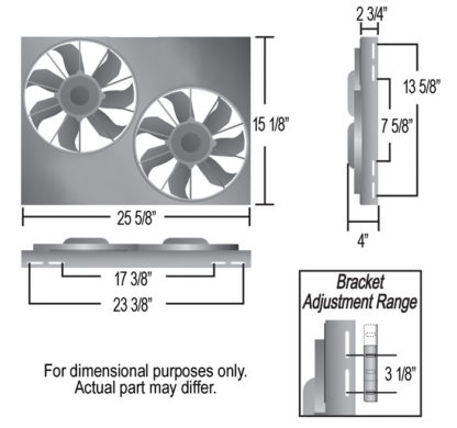 Derale 16825 High Output Dual 12 Inch Electric Radiator Fan, Aluminum Shroud Kit.