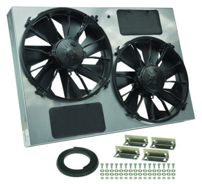 Derale 16927 High Output Dual 12 Inch Electric Radiator Fan and Powder Coated Steel Shroud Kit